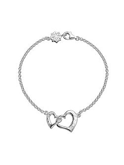 Entwined Silver Hearts Chain Bracelet