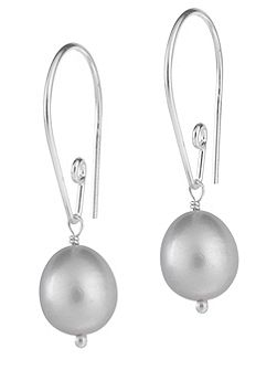 Silver Long Dove Grey Pearl Drops
