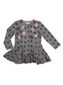 Angel & Rocket Girls Balloon Print Peplum Jersey Cardigan