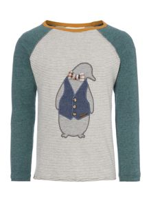 Boys Stripe Penguin Contrast Sleeve T-shirt