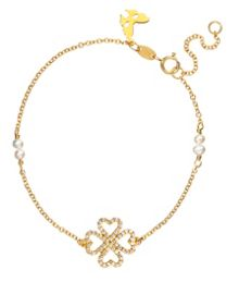Yellow gold lucky hearts bracelet