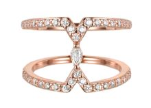 Rose cubic zirconia marquise ring