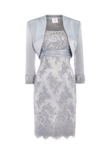 ANOUSHKA G Elizabeth lace dress with satin bolero
