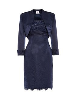 Elizabeth lace dress with satin bolero