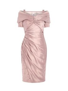 ANOUSHKA G Daniella satin dress with shawl jacket
