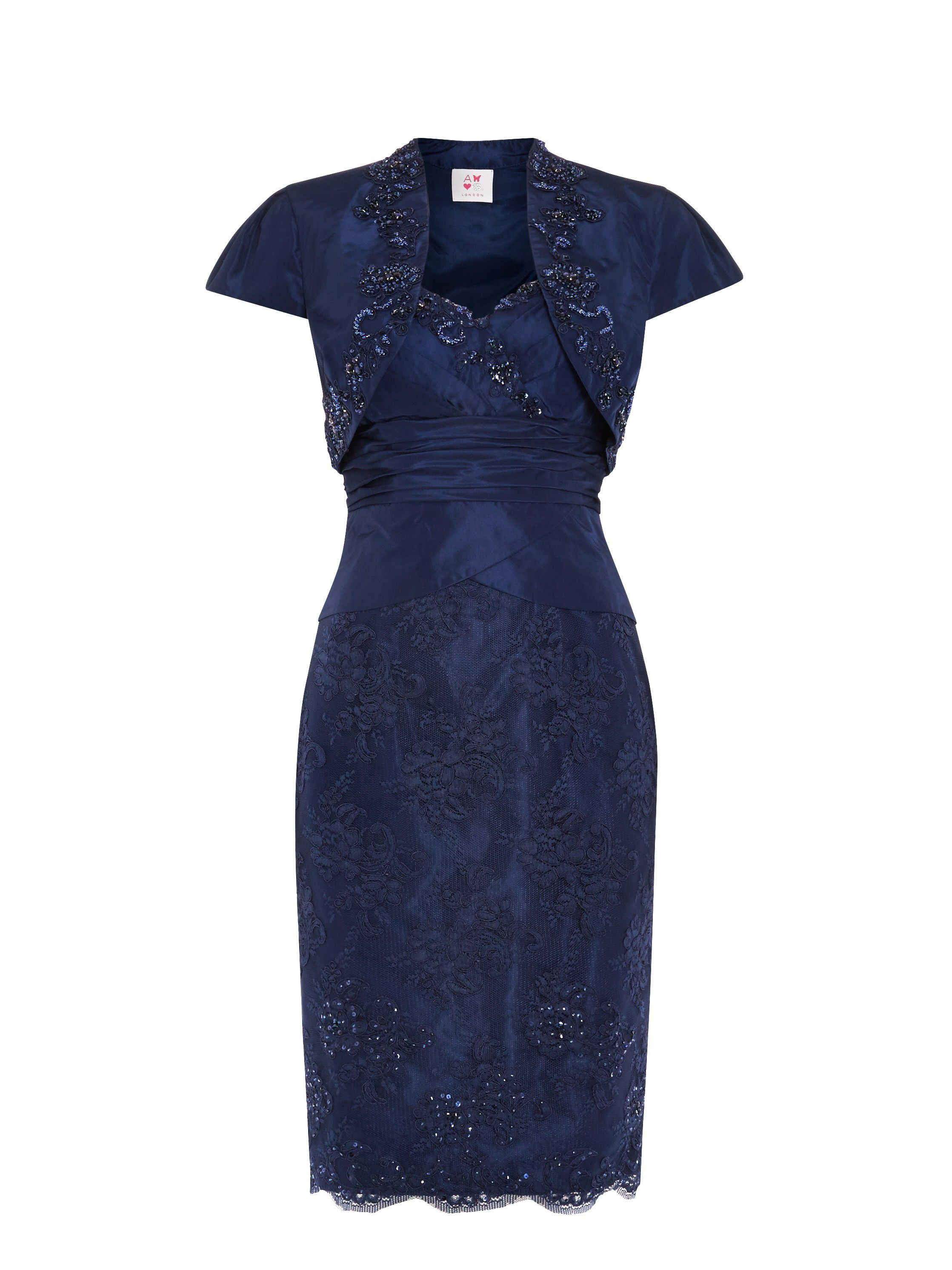 ANOUSHKA G Embellished corded lace dress & jacket, Blue