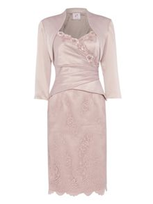 Satin and lace dress with satin bolero