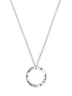 Live laugh love silver ring necklace