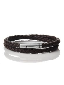 Plaited leather wrap bracelet