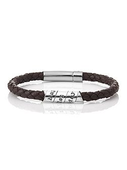 Happy 21st scroll brown leather bracelet