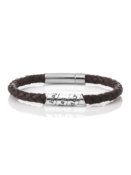 Joulberry Happy 21st scroll brown leather bracelet