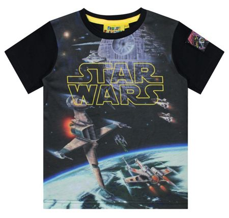 Fabric Flavours Boys Star Wars Logo Spacescape T-shirt