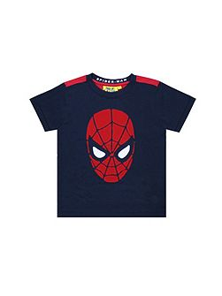 Boys Spiderman Face Applique T-shirt