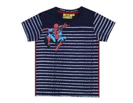 Fabric Flavours Boys Spiderman Web Stripe T-shirt