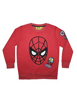 Boys Spiderman Face Badge Sweatshirt
