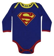 Fabric Flavours Boys Superman Logo Babygrow