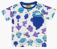 Fabric Flavours Kids Mr Men Repeat Print Blue T-Shirt
