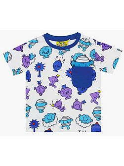 Kids Mr Men Repeat Print Blue T-Shirt