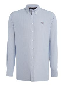 Gloverall 100% cotton washed striped oxford shirt
