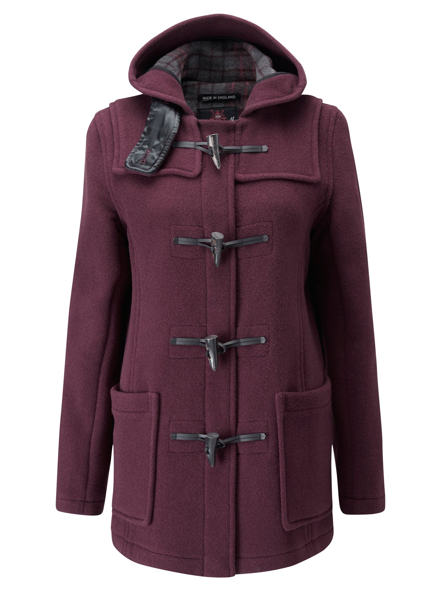 Gloverall Mid Length Slim Duffle Coat Burgundy
