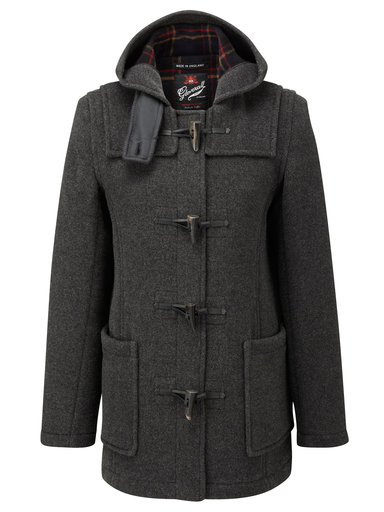 Gloverall Mid Length Slim Duffle Coat Grey
