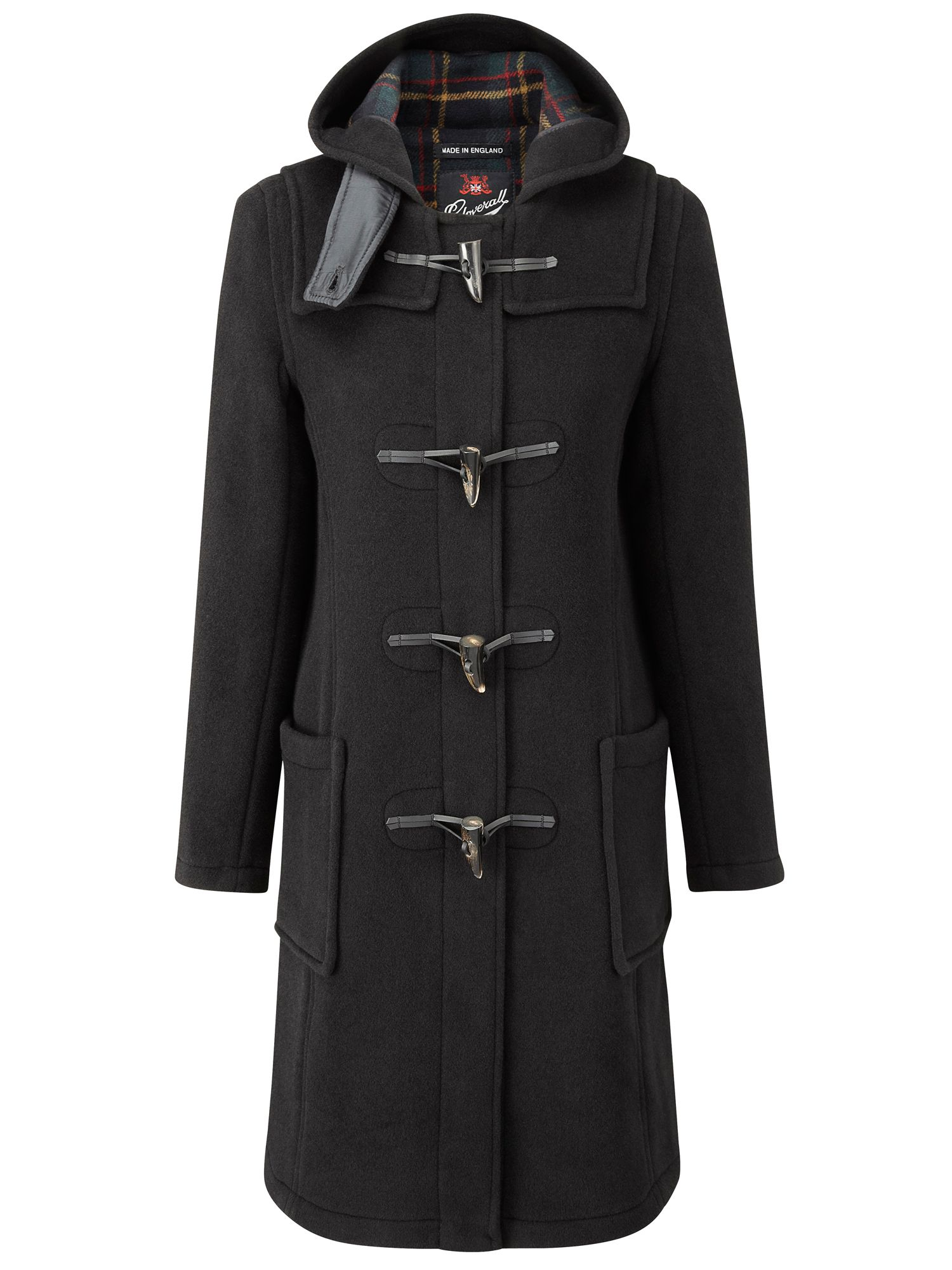 Gloverall Long Slim Duffle Coat, Black