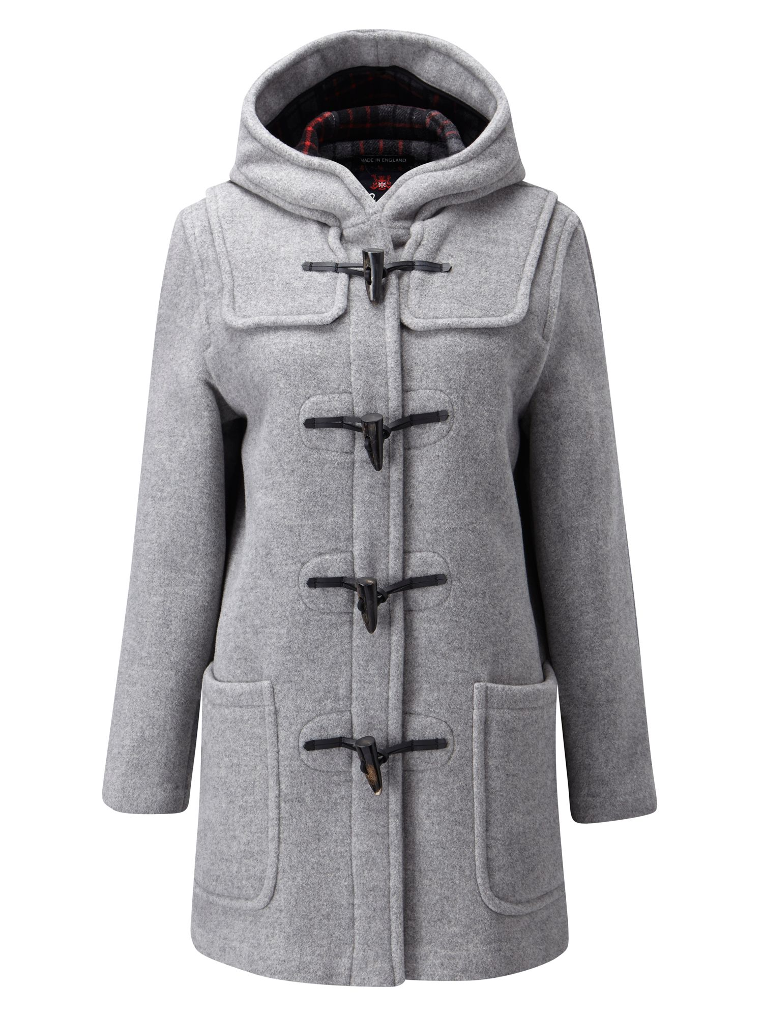 Gloverall Mid Length Original Fit Duffle Coat, Silver