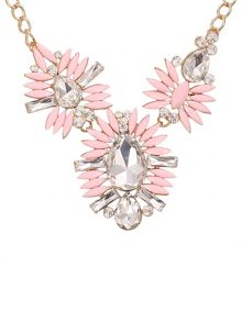 Ruby Rocks Pink three tier gem necklace