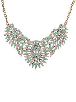 Green & pink crystal detail necklace