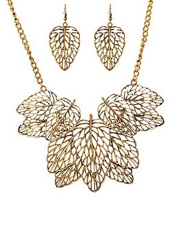 Gold leaf bone necklace