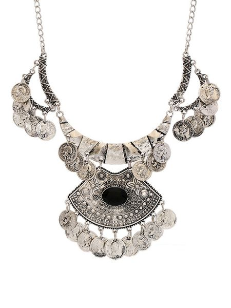Ruby Rocks Statement silver collar drop necklace
