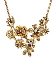 Ruby Rocks Gold flower & pearl necklace