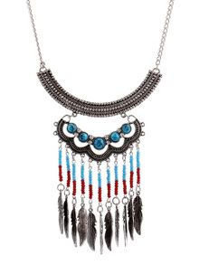 Ruby Rocks Silver ethnic bead necklace