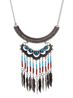 Silver ethnic bead necklace