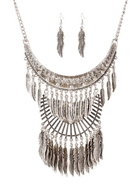 Ruby Rocks Silver leaf drop necklace