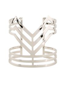 Ruby Rocks Silver chevron bangle