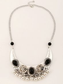 Ruby Rocks Silver plated rose inspired necklace