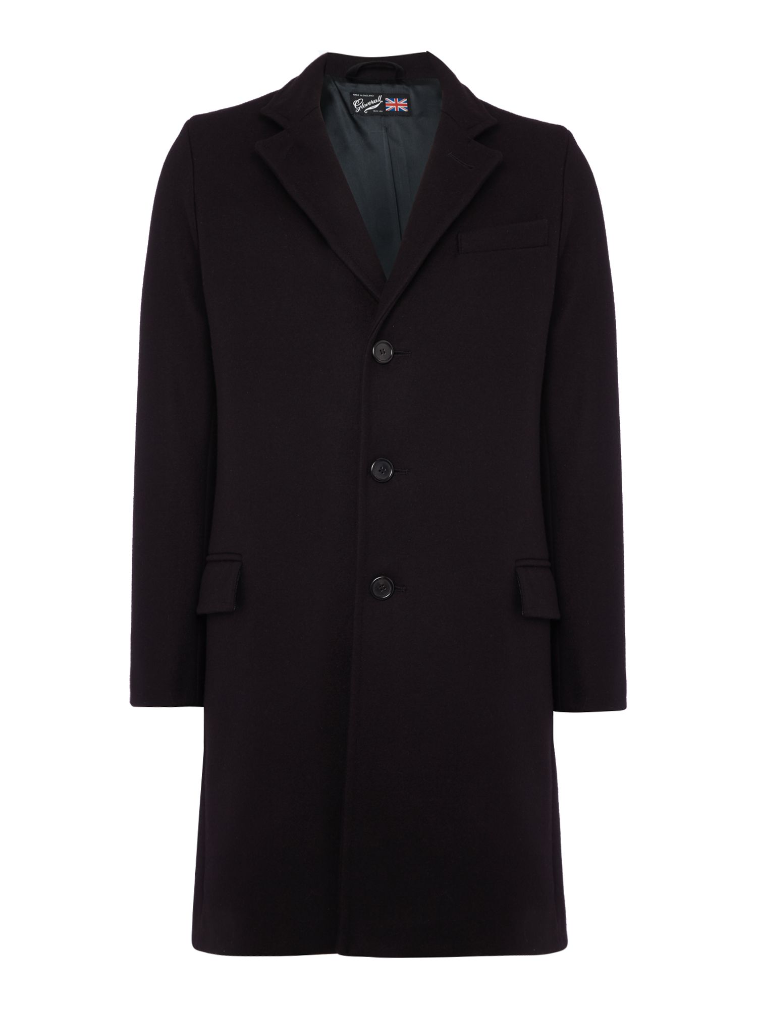 Gloverall Men's Gloverall Lined Chesterfield Coat, Navy