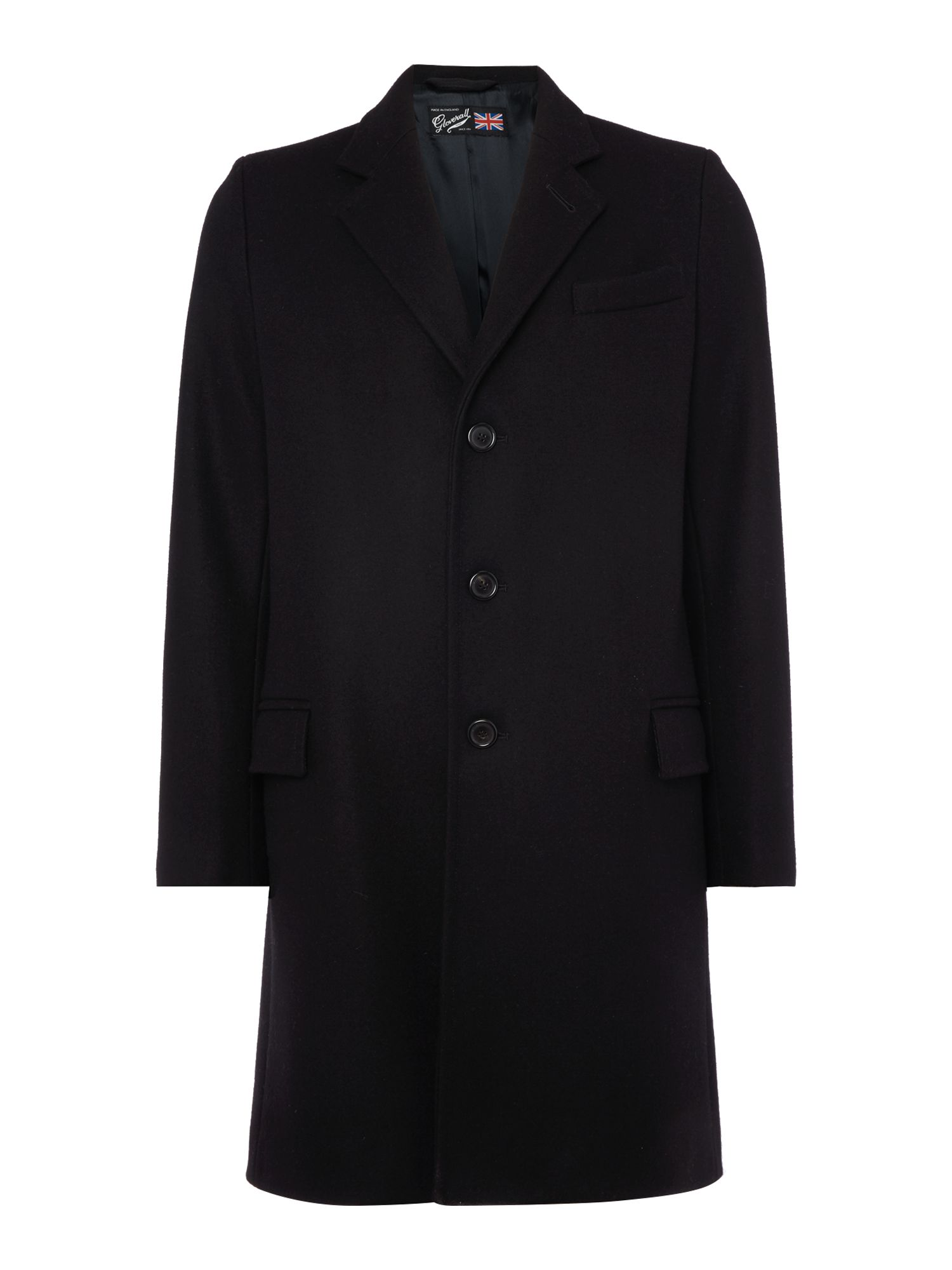 Gloverall Men's Gloverall Lined Chesterfield Coat, Black