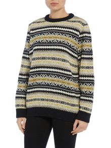 Gloverall Fair Isle Crew Neck Jumper