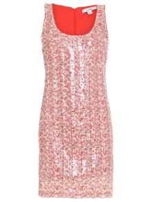 Printed Sequin Scoop Neck Party Dress