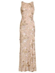 Badgley Mischka Floral Sequin Gown