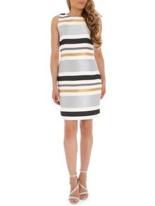 Badgley Mischka Metallic Stripe Shift Dress