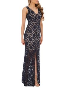 V Neck Lace Maxi with Center Front Slit