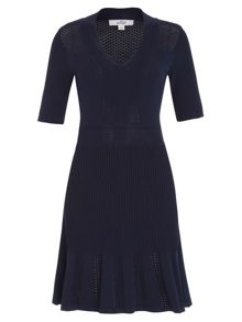 Knit V-neck Fit and Flare Dress