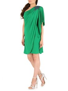 One Shoulder Applique Dress
