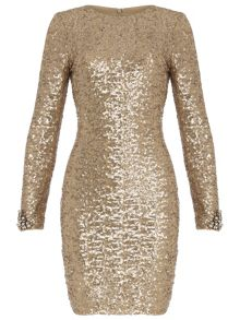 Sequin Dress with Bead Cuff Detail