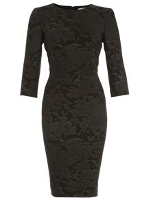 Jacquard Knit Long Sleeve Sheath Dress