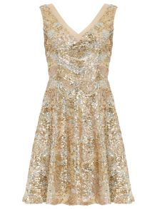 Sequined Pleated V neck Dress