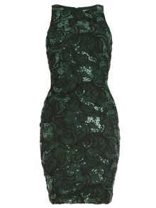 Halter Stretch Sequin Sheath Dress